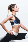 BLUE STRIPED BLACK SPORTS BRA