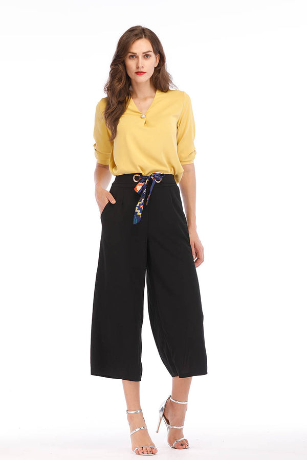 SOLID COLORED CROPPED PANTS WITH BELT