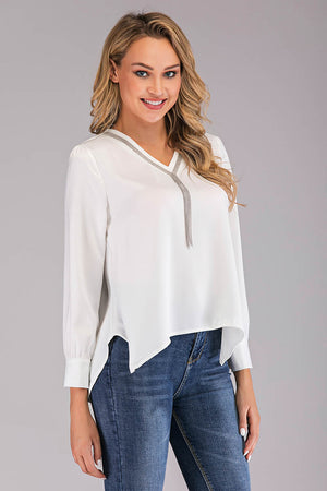 SOLID COLORED TOP WITH DANGLING CHAIN