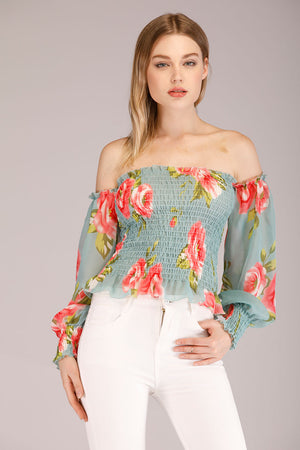 Mantra Pakistan OFF SHOULDER PRINTED SHEER BLOUSE | TOPS