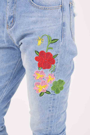 Mantra Pakistan FLORAL EMBROIDERED JEANS | BOTTOMS