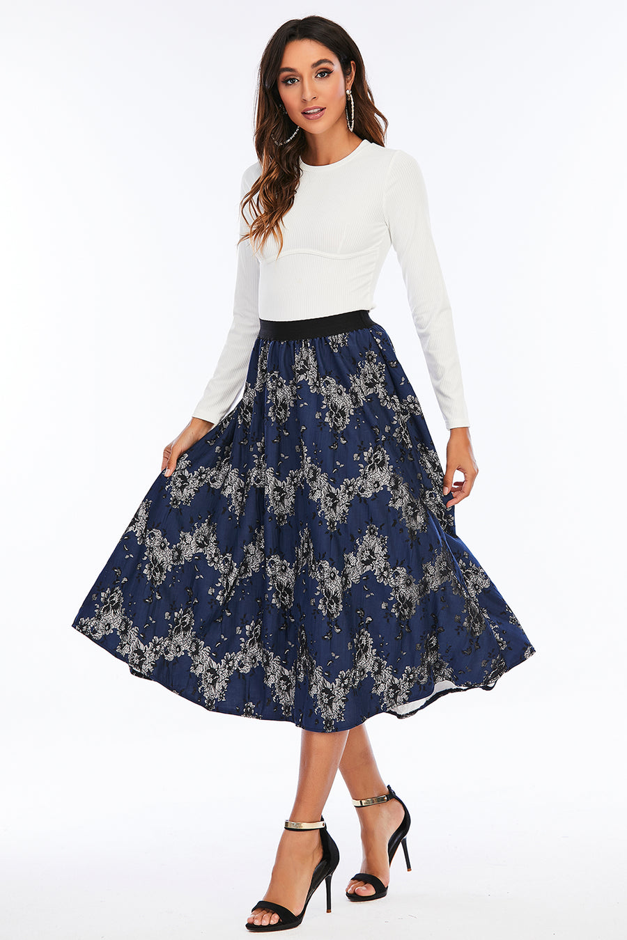 Mantra Pakistan Navy Floral lace Skirt | Western Wear