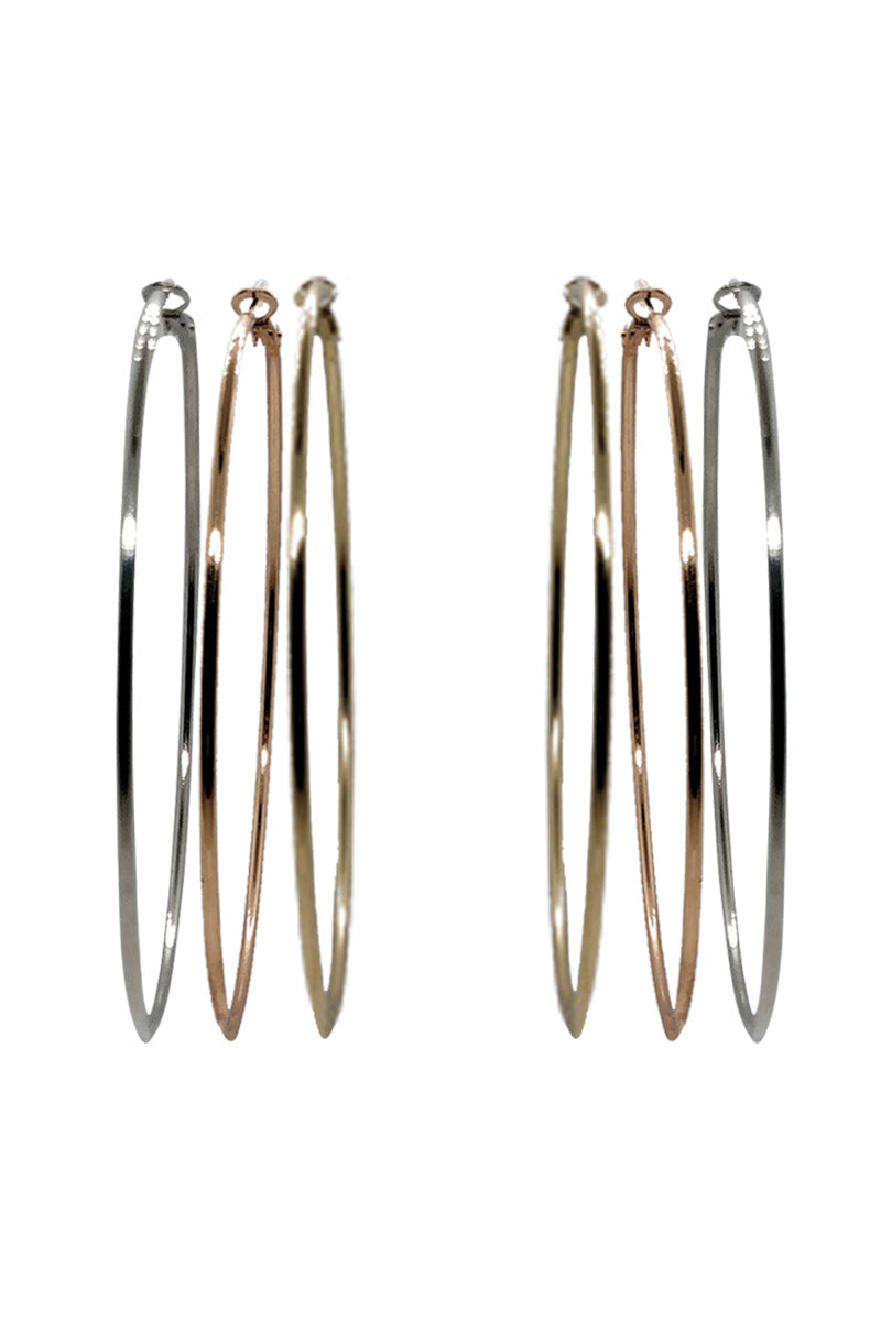 METALLIC HOOPS EARRINGS