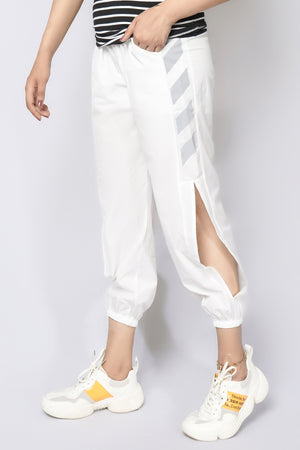 Mantra Pakistan Track pants with cut out and stripes white | Western Wear