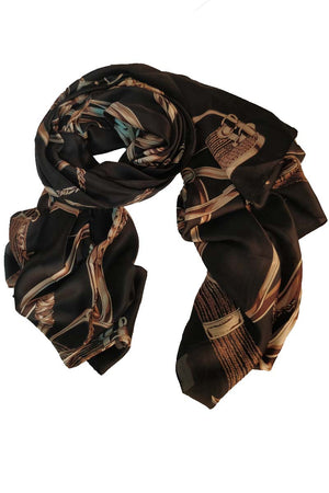 Mantra Pakistan BLACK PRINTED SCARF | ACCESSORIES