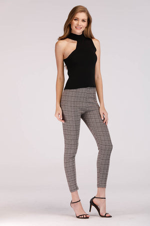 Mantra Pakistan PLAID JEGGINGS | BOTTOMS