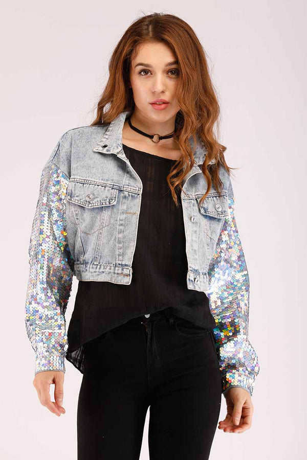 Mantra Pakistan DENIM JACKET WITH SEQUENCED SLEEVES | OUTERWEAR