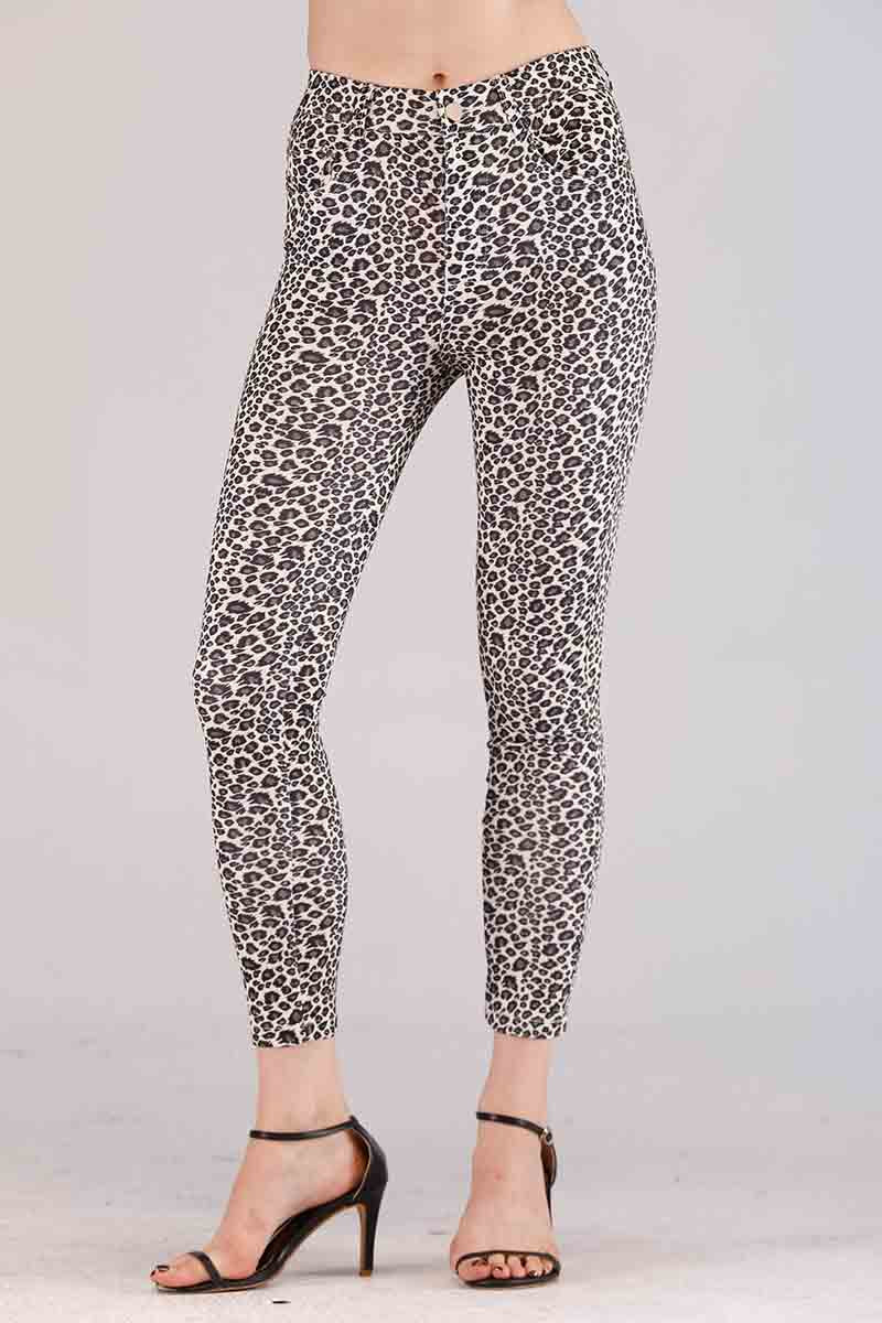 Mantra Pakistan BLACK AND WHITE CHEETAH PRINTED JEGGINGS | BOTTOMS
