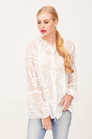 Mantra Pakistan LACE BUTTON DOWN TOP | TOPS