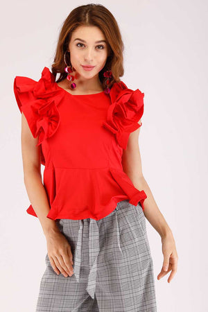 Mantra Pakistan RED FRILL SLEEVES TOP | TOPS