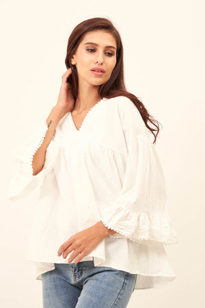 Mantra Pakistan BOHO TOP WITH FLARED SLEEVES | TOPS