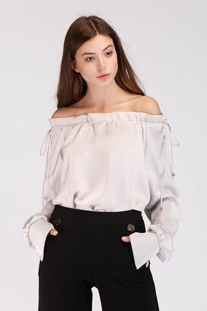 Mantra Pakistan OFF SHOULDER SATIN TOP | TOPS