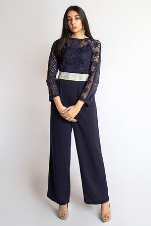 Mantra Pakistan Longsleeve Lace jumpsuit | Western Wear