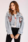 DENIM JACKET WITH SEQUIN POCKETS