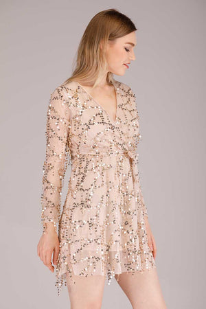 DANGLING SEQUINS MINI DRESS - Mantra Pakistan
