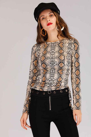 Mantra Pakistan SNAKE PRINTED LONG SLEEVES TOP WITH SIDE STRINGS | TOPS