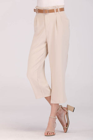 Mantra Pakistan BEIGE CROPPED PANTS | BOTTOMS