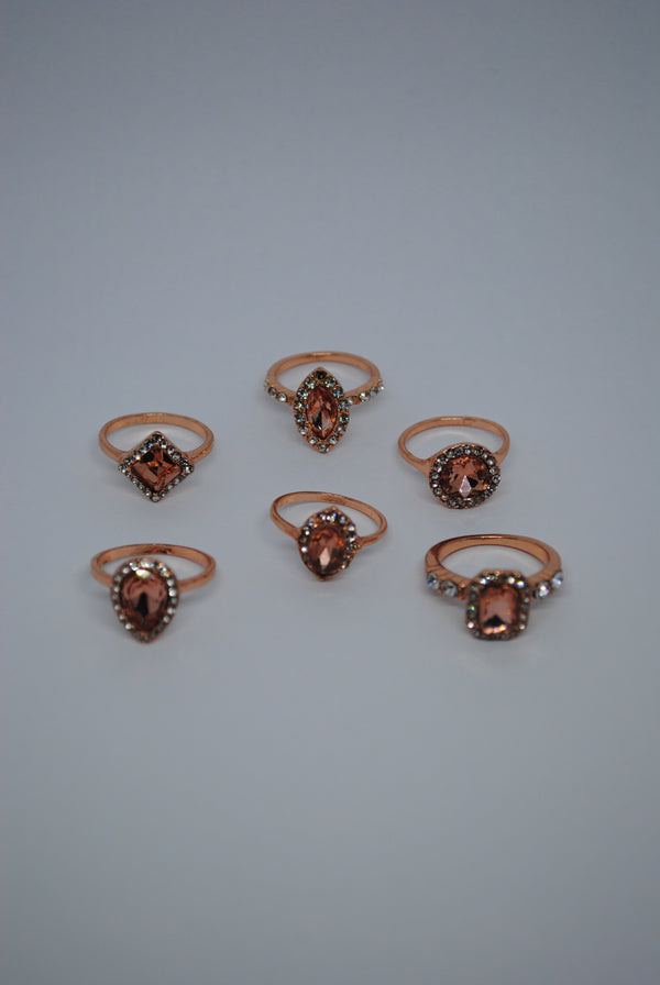 Mantra Pakistan Pink Gem Ring Set | ACCESSORIES