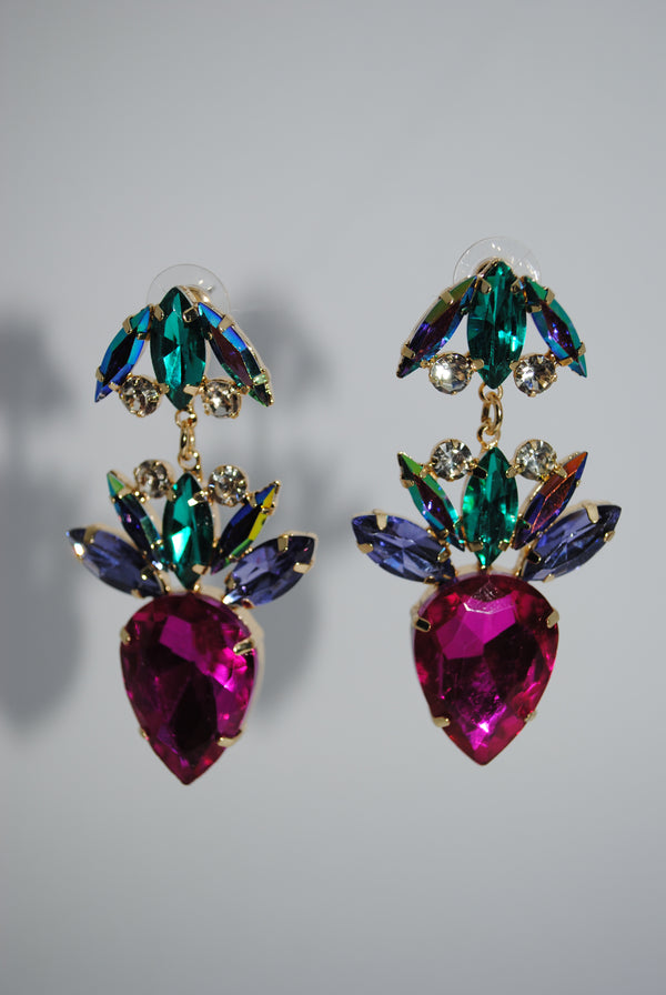 Mantra Pakistan Colorful Gem Drop Earrings | ACCESSORIES