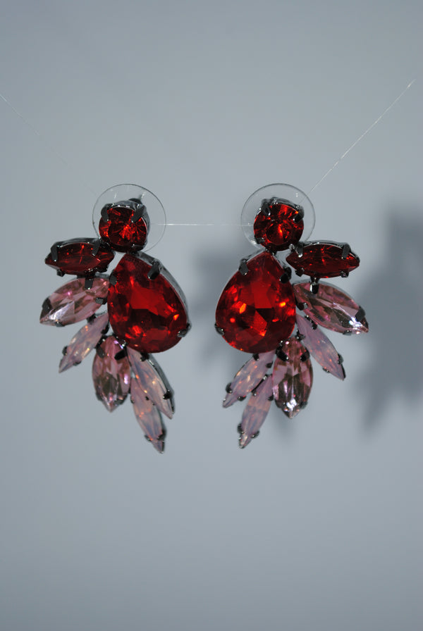 Pink Gem Leaf Earrings