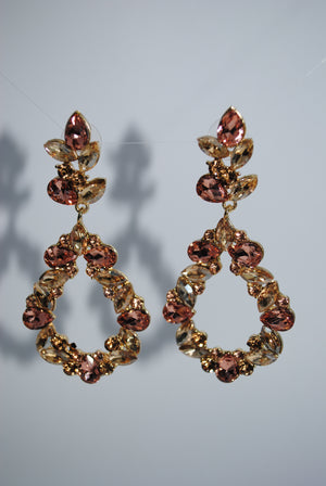 Mantra Pakistan Pink Gem Hollow Earrings | ACCESSORIES