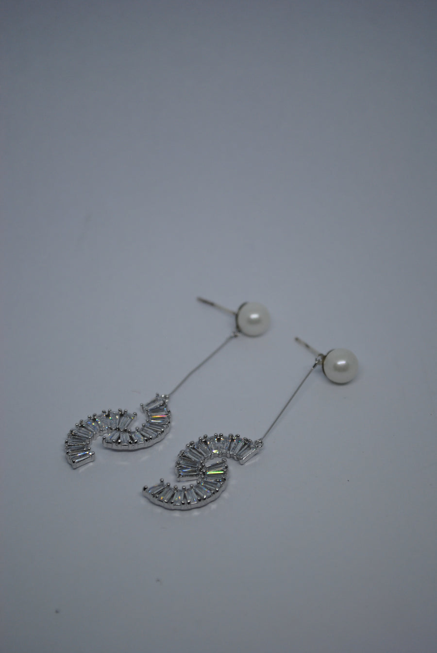 Mantra Pakistan Diamond Studded S-Shaped Earrings | ACCESSORIES