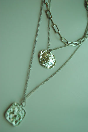 Silver Hammered Disc Pendant Necklace