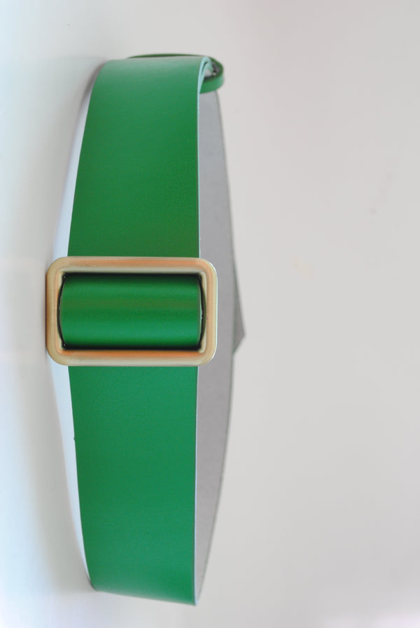 Mantra Pakistan Green Faux Leather Belt | ACCESSORIES