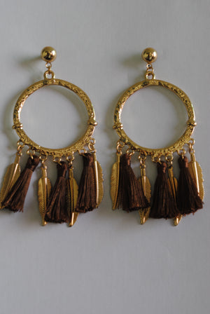 Mantra Pakistan Golden Leaf Earrings | ACCESSORIES