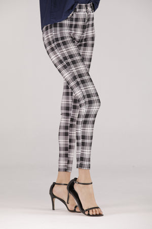 Mantra Pakistan Black & White Plaid Jeggings | BOTTOMS