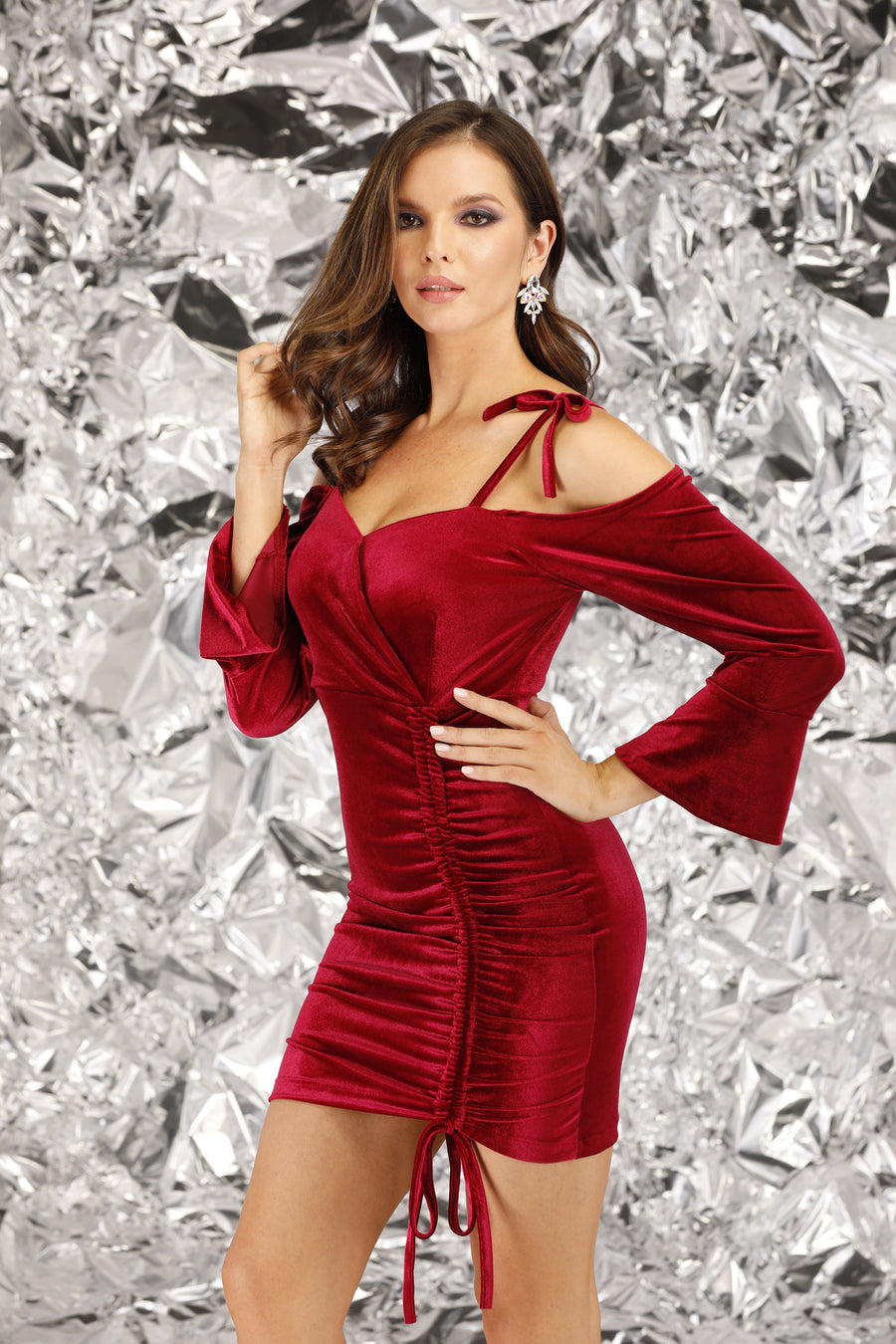 Mantra Pakistan Red Velvet Dress | DRESS