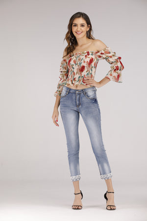 Mantra Pakistan Floral Off Boat Neck Top | TOPS
