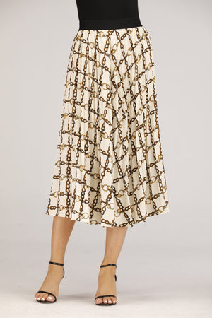 Mantra Pakistan Cream Chain Print Skirt | BOTTOMS