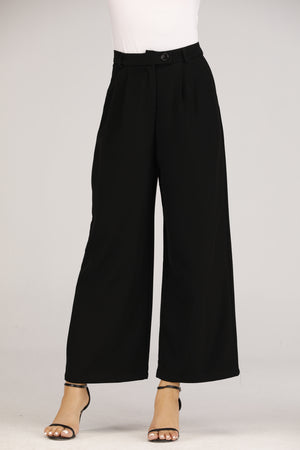 Mantra Pakistan Long Flowy Pants with Button | BOTTOMS