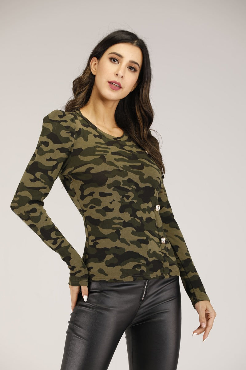 Mantra Pakistan Camo Printed Top with Gold Button | TOPS