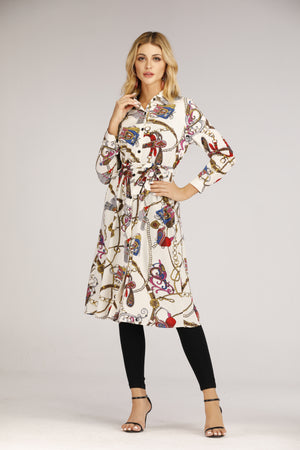 Mantra Pakistan Chain Printed Button Down Shirt Dress | DRESS