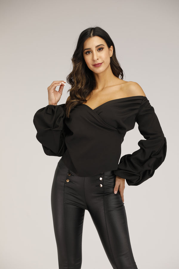 Off Shoulder V Neck Top With Puffy Sleeves