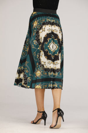 Mantra Pakistan Green Chain Printed Skirt | BOTTOMS