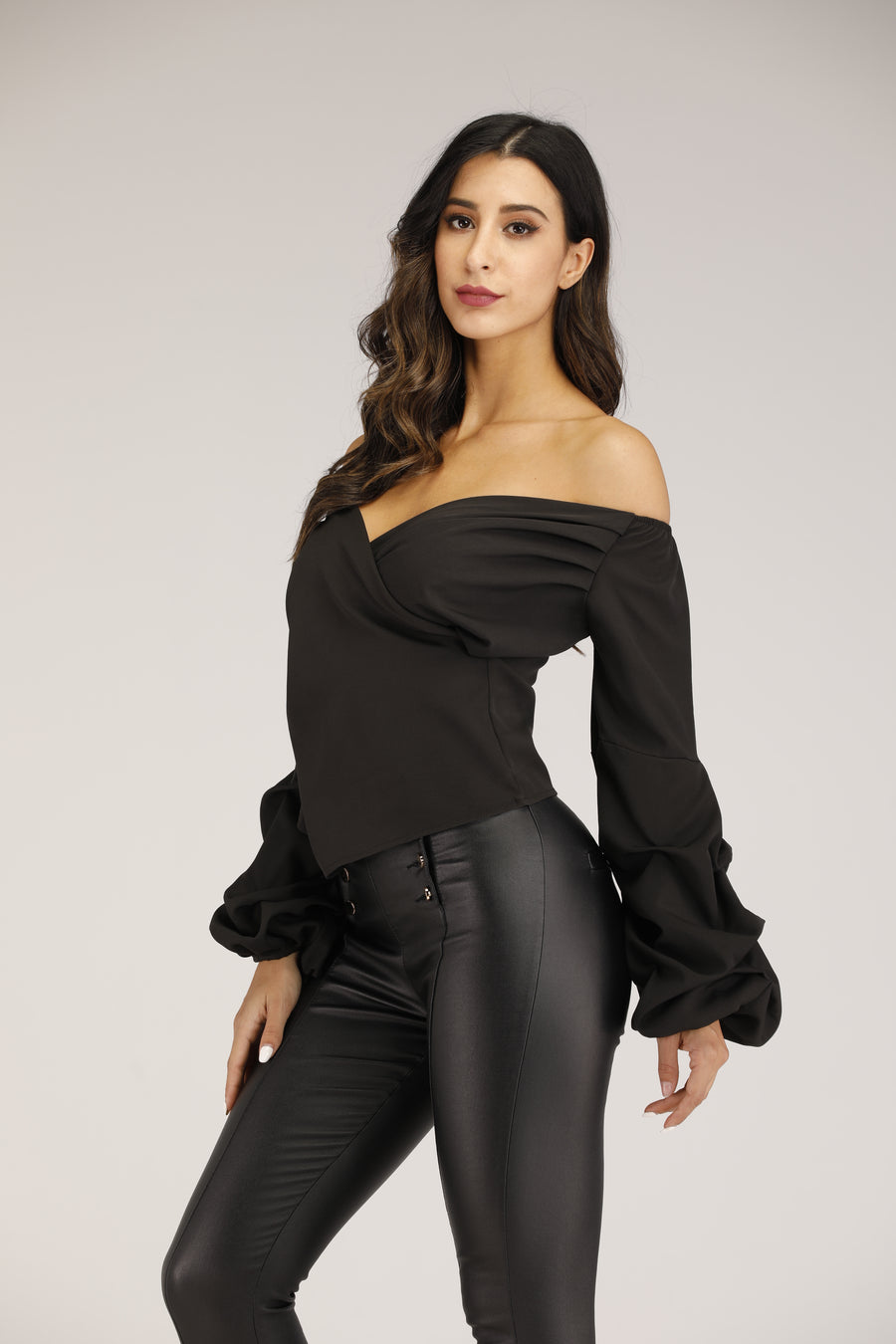 Mantra Pakistan Off Shoulder V Neck Top With Puffy Sleeves | TOPS