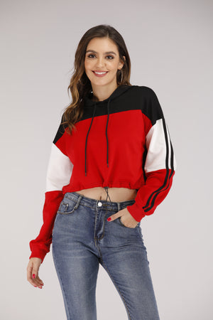 Red & Black Cropped Hoodie