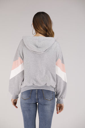 Mantra Pakistan Grey Colourblock Hoodie | OUTERWEAR