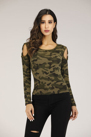 Mantra Pakistan Cold Shoulder Camo Printed Top | TOPS
