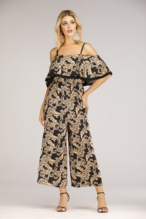 Black And Gold Printed Jumpsuit