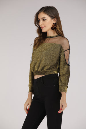 Mantra Pakistan Full Sleeve Mesh Top with Golden Glitter | TOPS