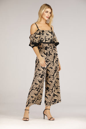 Mantra Pakistan Black And Gold Printed Jumpsuit | DRESS