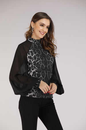 Mantra Pakistan Cheetah Print Top with Mesh Puffy Sleeves | TOPS