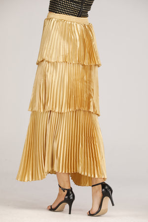 Mantra Pakistan Gold Pleated layered Skirt | BOTTOMS
