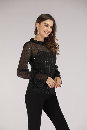 Sheer Sequin Full Sleeve Top