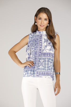 Mantra Pakistan Blue & White Printed Sleeveless Top | TOPS