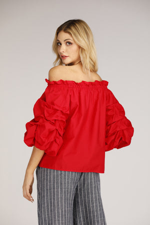 Mantra Pakistan Off Shoulder Top With Puffy Sleeves | TOPS